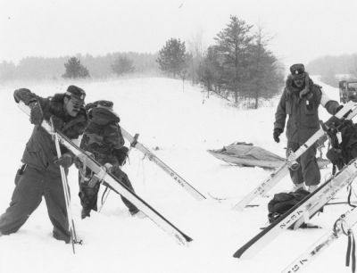 In the mid-1970s, Camp Ripley became a training site for winter operations. Its Winter Operations School soon became one of the top cold-weather training programs in the nation. Photo taken about 1980.