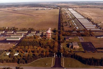 Aerial view of the cantonment area, about 1980.