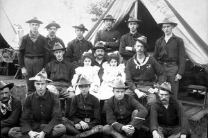 Soldiers from the First  Battery Minnesota Artillery pose during visitors day at Camp Lakeview, 1898.
