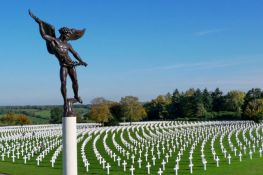 "The ""Angel of Peace"" by Donal Hord (1956) stands vigil over the Henri-Chapelle American Cemetery and Memorial in Belgium."