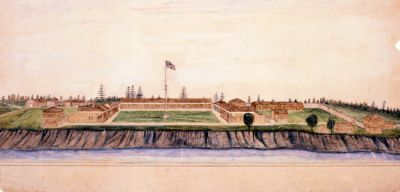 Watercolor of 1868 Fort Ripley by Col. Edward G. Bush (1838-1892). Painted by Bush in 1880 upon revisiting the fort that he commanded September 1868 to May 1869 while a 30 year-old captain.  The painting depicts the fort as he remembered it in 1868.