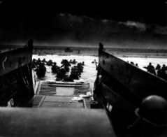 American troops land at Normandy, France, under heavy machine gund fire, June 6, 1944.  (US Army/National Archives)