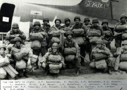 Al is second from right in the front row of this photo taken before his jump into Holland for Operation Market Garden, 1944.