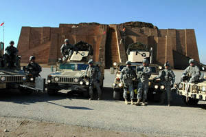 Soldiers of the First Brigade Combat Team, 34th Infantry Division, at the Ziggurat of Ur, near Nasiriya, Iraq, January 2007.