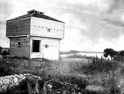 Abandoned Fort Ripley, about 1895.  The southeast blockhouse stands as a lonely sentinel on the river.