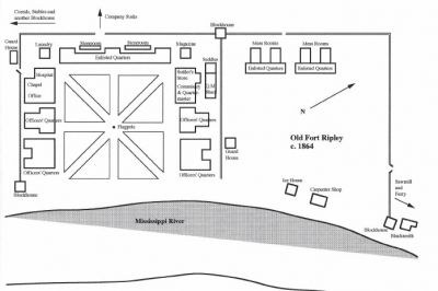 Ft Ripley's layout in 1864 showing placement of the stockade fence built two years earlier as a defense against attack.