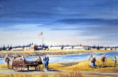 Watercolor painted in 1989 of Ft. Ripley by Minnesota artist Paul S. Kramer (1919-2012).  This painting hangs in the Minnesota Military Museum.  A larger oil painting of the same scene hangs in Camp Ripley's post headquarters.
