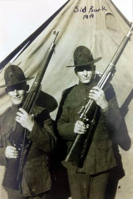 Burk (right) and a buddy hold their M1917 Enfields at the port arms position.